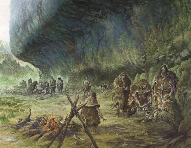 Rekonstruktion: Neandertaler bei der Kinderbestattung.