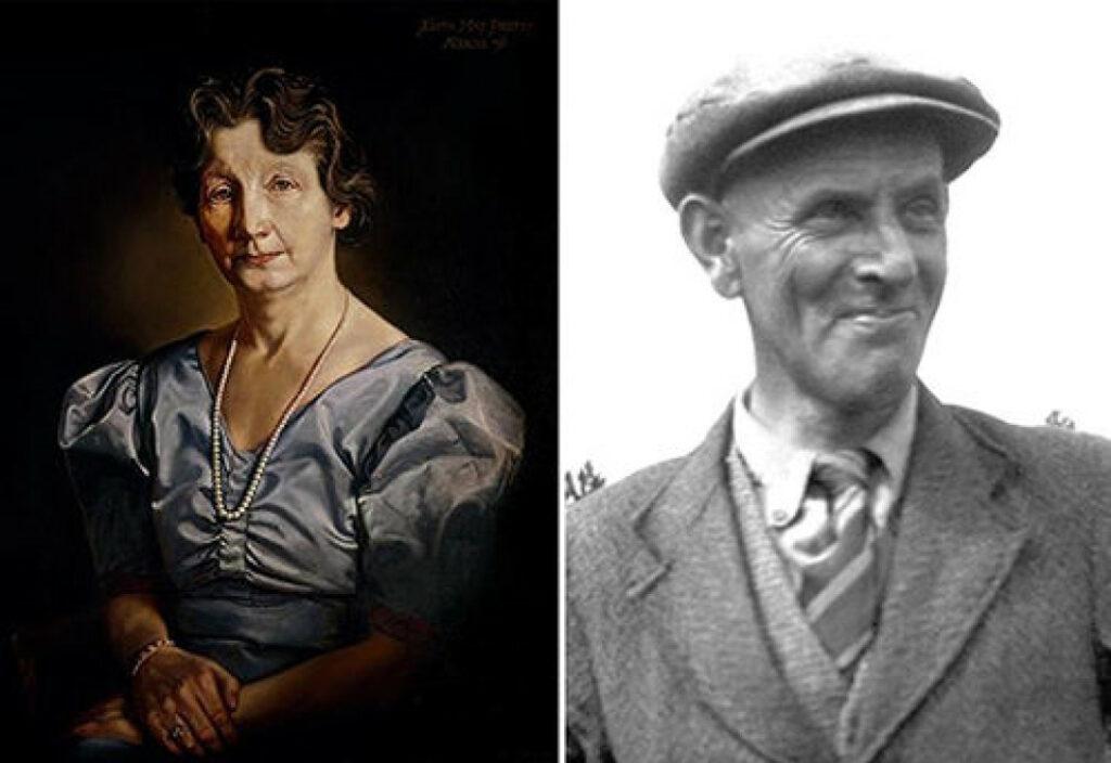 Links Edith Pretty in einem blauen Kleid und mit ernster Miene, Rechts Basil Brown, im Anzug und mit einem Grinsen im Gesicht.