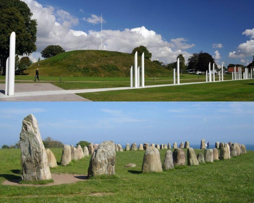 Auf dem oberen Bild ist ein begraster Grabhügel zu sehen. Auf dem unteren Steine, die aus der Erde ragen und deren Muster ein Schiff ergibt.