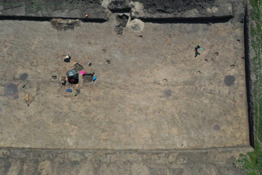 Senkrechter Blick auf die Grabungsfläche. Die Pfostenkonstruktion eines Hauses ist an den dunkeln, runden Verfärbungen, die sich deutlich vom hellbraunen Boden absetzen, erkennbar.