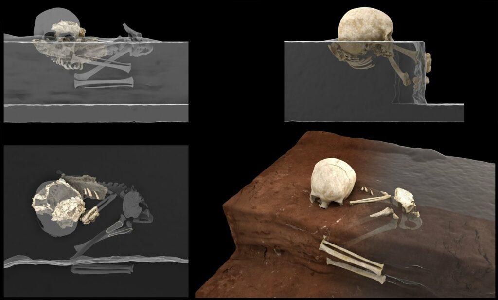 Rekonstruktion der Bestattung zum Zeitpunkt des Fundes (rechts) und virtuelle Rekonstruktion der Homininreste von Panga ya Saidi am Fundort (links).