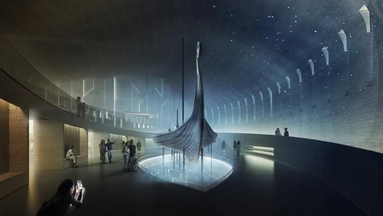 Eines der Wikingerschiffe an seinem neuen Bestimmungsort. Darstellung ist eine Illustration