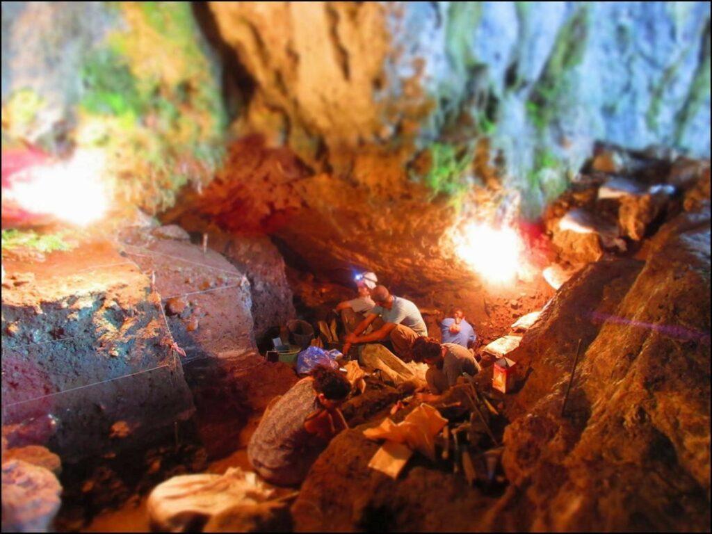 Übersicht der Ausgrabungen in der Satsurblia-Höhle (© Anna Belfer-Cohen)