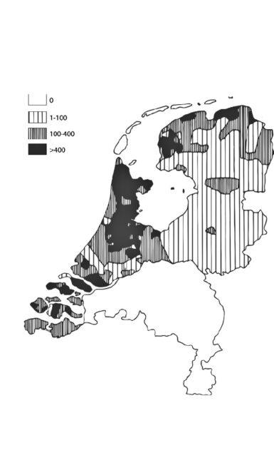 Karte der Niederlande mit Angabe der Stechmückendichte, die anhand der Anzahl der in Ställen gefundenen Stechmücken im Jahr 1937 geschätzt wurde (nach Swellengrebel und de Buck 1938, 71).