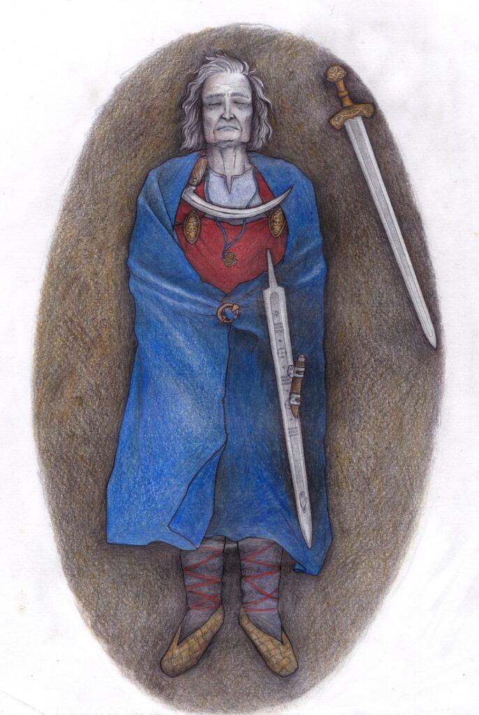 Eine Rekonstruktionszeichnung des Suontaka-Grabes.