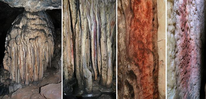 Stalagmitenformation in der Sala de las Estrellas der Cueva de Ardales-Höhle (Málaga, Andalusien) mit Spuren von rotem Pigment, die in dem Artikel analysiert wurden.