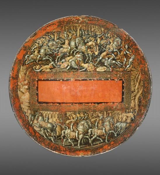 """""""Schild mit der Darstellung der Erstürmung von Neukarthago (verso), hergestellt in Italien um 1535, zugeschrieben Girolamo di Tommaso da Treviso (Italiener, geboren um 1497, gestorben 1544), nach einem Entwurf von Giulio Romano (1492/99-1546). Holz, Leinen, Gesso, Gold, Pigment, Durchmesser: 24 Zoll (61 cm). Vermächtnis von Carl Otto Kretzschmar von Kienbusch, 1977; aus dem Nachlass 2021."""