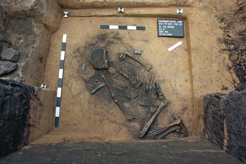 Zschernitzsch. Mann in einem Grab der Schnurkeramik.