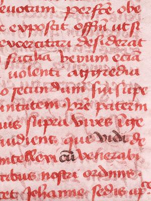 Infrarotlicht machte veränderten Text in der Tatarenrelation sichtbar, dem authentischen mittelalterlichen Manuskript, in das die Karte gebunden war, als sie in Yale ankam. Die Analyse ergab, dass der veränderte Text aus moderner Tinte besteht.