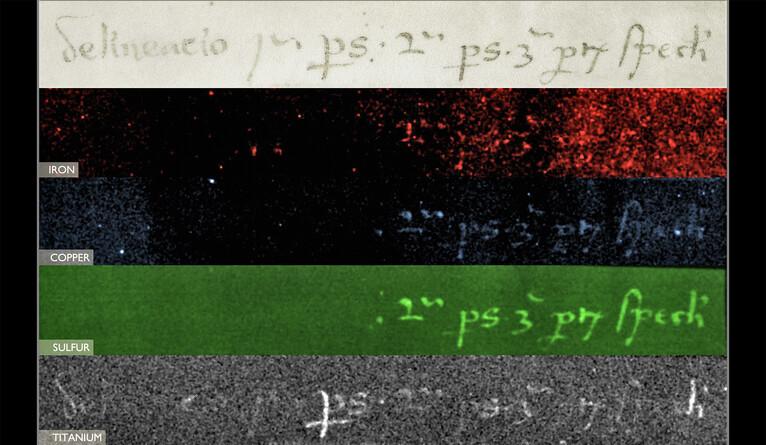 Eine Inschrift auf der Rückseite der Karte (oben), möglicherweise eine Notiz des Buchbinders für die Zusammenstellung des mittelalterlichen Bandes, mit dem sie ursprünglich gebunden war, wurde in einem offensichtlichen Täuschungsversuch überschrieben. Das untere Bild zeigt das Vorhandensein von Titan in der Tinte, was stark darauf hindeutet, dass sie modernen Ursprungs ist, während die drei vorangehenden Falschfarbenbilder Elemente hervorheben, die mit mittelalterlicher Eisengallustinte übereinstimmen.