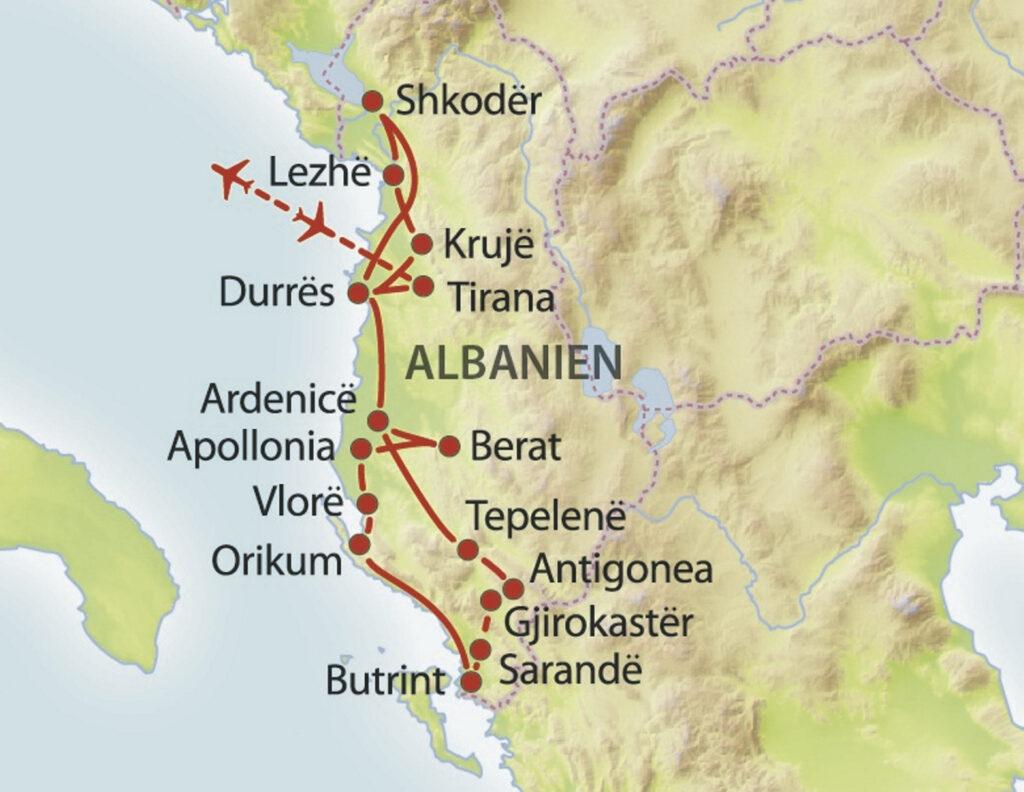 Karte Rundreise Albanien
