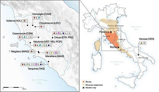 Geographische Karte der italienischen Halbinsel (rechts). Die Vergrößerung (links) zeigt die maximale Ausdehnung der etruskischen Gebiete und aus welchen Ausgrabungen Individuen für die Studie analysiert wurde. © Michelle O'Reilly