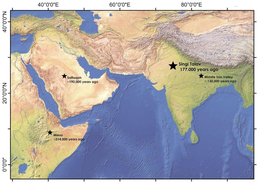 Karte: Lage von Singi Talav in Relation zu den jüngsten Stätten des Acheuléen weltweit.