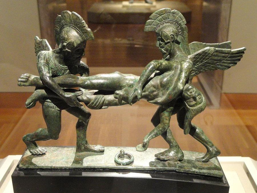 Bronze: Schlaf und Tod tragen den gefallenen Sarpedon, 400-380 v.Chr.